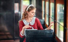 Картинка взгляд, девушка, поза, фото, волосы, окно, трамвай, Бармина Анастасия