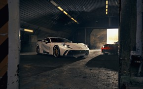 Картинка свет, машины, фары, ангар, Ferrari, спорткар, Superfast, 812, Novitec N-Largo