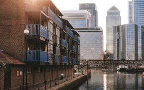 Картинка мост, Англия, Лондон, дома, небоскребы, канал, England
