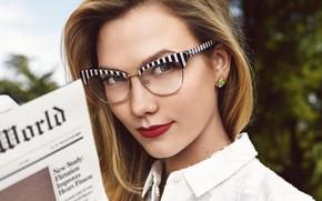 Картинка взгляд, девушка, лицо, портрет, очки, рубашка, боке, Karlie Kloss