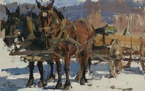 Картинка картина, лошади, Повозка, Николай Фешин, Nicolai Fechin
