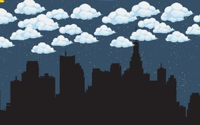 Картинка Облака, Ночь, Город, Fantasy, Sky, Пиксели, Night, Pixel, Pixel art, Harrison, by Harrison