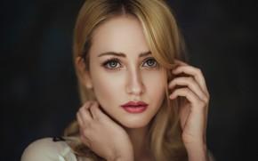 Картинка girl, green eyes, photo, photographer, model, bokeh, lips, face, blonde, portrait, mouth, close up, wavy …