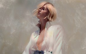 Картинка воротник, серый фон, портрет девушки, белая блузка, расстебнута, by Justine Florentino
