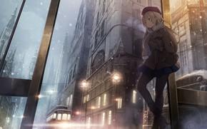 Картинка девушка, ночь, город, транспорт