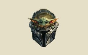 Картинка Star Wars, Звёздные Войны, сериал, Арт, Персонаж, Мандалорец, The Mandalorian, baby yoda, Mando