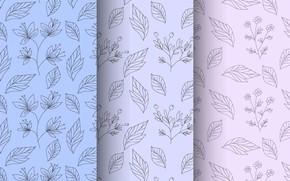 Картинка листья, цветы, фон, голубой, бесшовный