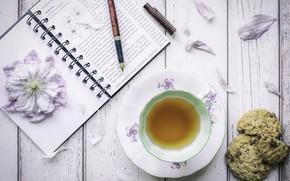 Картинка цветы, чай, печенье, ручка