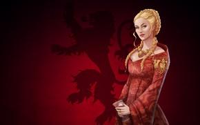Картинка Девушка, Блондинка, Арт, Queen, Игра Престолов, Game of thrones, Cersei Lannister, Серсея Ланнистер, Lannister, House …