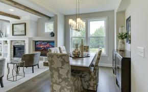 Картинка интерьер, кресла, камин, столовая, Crestwood, Walnut Grove
