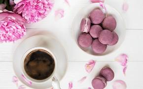 Картинка кофе, печенье, пионы, Olena Rudo