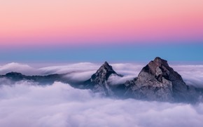Картинка Switzerland, trees, landscape, nature, sunset, mountains, clouds, mist, peaks, far view
