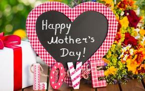Картинка любовь, цветы, подарок, сердце, Love, День матери, Mother's Day