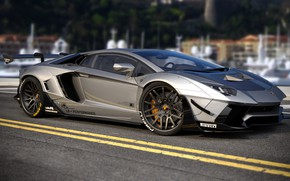 Картинка Авто, Lamborghini, Машина, Серый, Car, Auto, Render, Aventador, Lamborghini Aventador, Рендеринг, Supercar, Спорткар, Sportcar, Transport …