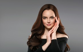 Картинка взгляд, девушка, лицо, руки, макияж, брюнетка, прическа, woman, локоны, hair, brunette, portrait, Ryabusjkina Irina