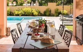 Картинка вилла, еда, пиво, хлеб, фрукты, овощи, терраса, маслины, оливковое масло, Crete, terrace and table, Villa …