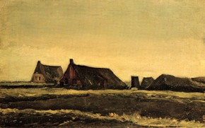 Картинка Vincent van Gogh, Early paintings, Cottages, домишки