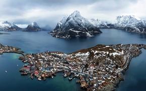 Картинка Mountains, Norway, Nordland, Moskenes, Fjords