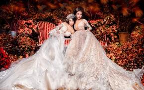 Обои цветы, девушки, диван, две, розы, сад, наряд, белые, дуэт, роскошь, много, азиатки, красавицы, сидят, подол, ...