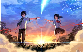 Картинка девушка, облака, закат, вечер, арт, кометы, пара, парень, Твоё Имя, Kimi No Na Wa