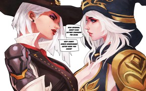 Картинка девушка, art, lol, League of Legends, ashe, overwatch, The Frost Archer