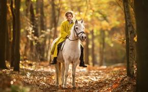 Обои осень, природа, конь, девочка