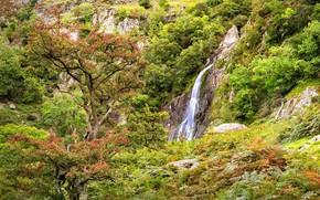 Картинка водопад, Уэльс, Сноудония, Aber Falls