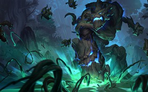 Картинка лес, ночь, древесные, Maokai, Legends of Runeterra