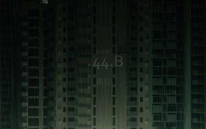 Картинка Ночь, Дом, Дождь, Здание, ART, Ливень, Cyberpunk, DOFRESH, by DOFRESH, BLOCK 44-B, Блок 44 Б, …
