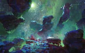 Картинка Космос, Астронавт, Космонавт, Арт, Art, Science Fiction, John Wallin Liberto, by John Wallin Liberto, Астероид, ...