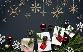 Картинка снежинки, фон, праздник, игрушки, новый год, подарки