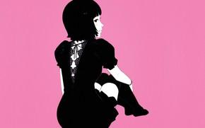 Картинка стрижка, брюнетка, черное платье, розовый фон, со спины, Илья Кувшинов