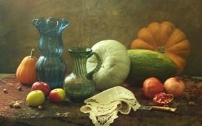 Картинка яблоки, тыквы, натюрморт, предметы, гранаты, салфетка, композиция, графин