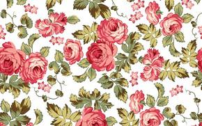 Картинка цветы, ретро, фон, узор, розы, текстура, pattern, seamless