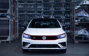 Картинка белый, Volkswagen, седан, вид спереди, 2018, четырёхдверный, Passat GT