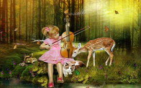 Картинка лес, животные, девочка