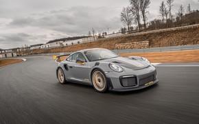 Картинка пасмурно, скорость, 911, Porsche, гоночный трек, GT2 RS, 991, Edo Competition, 2020