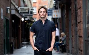 Картинка взгляд, улица, мужчина, рубашка, Sam Claflin, The Guardian