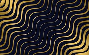 Картинка текстура, golden, черный фон, design, Line, pattern, wavy