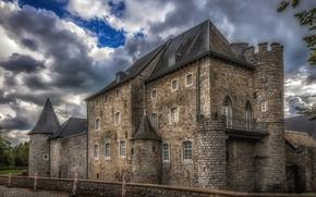 Картинка небо, облака, замок, HDR, Бельгия, Raeren