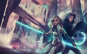 Картинка девушка, город, будущее, меч, небоскребы, арт, парень, lightsaber