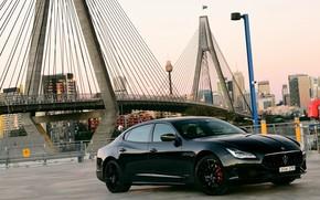 Картинка мост, Maserati, Quattroporte, вечер, 2018, GTS, AU-spec, GranSport, Nerissimo Edition