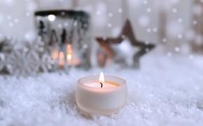 Картинка зима, свеча, Рождество, Новый год, New Year