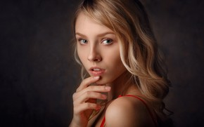 Картинка взгляд, лицо, Девушка, Блондинка, Портрет, Алиса Тарасенко, Алексей Кишечкин