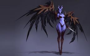 Картинка крылья, демон, фэнтези, арт, рога, SERGEI SOROCHKIN, wip queen of pain