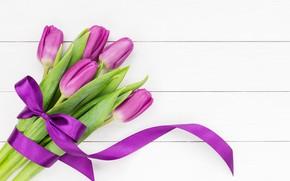 Картинка цветы, букет, лента, тюльпаны, flowers, tulips, purple
