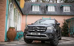 Картинка Mercedes-Benz, пикап, 2017, у дома, X-Class, тёмно-серый, UK-version