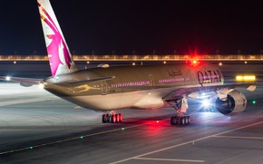 Картинка Самолет, Лайнер, Airbus, ВПП, Qatar Airways, Шасси, Пассажирский самолёт, Airbus A350 XWB, Винглет, Airbus A350-1000