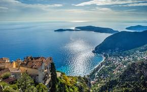Картинка море, город, побережье, Франция, дома, панорама, France, Лазурный берег, French Riviera, Средиземное море, Mediterranean Sea, …