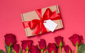 Картинка любовь, подарок, розы, букет, красные, red, love, flowers, romantic, valentine's day, roses, gift box